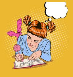 pop art girl in pink socks writing in diary vector image