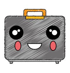 Portfolio briefcase kawaii character vector