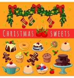 Postcard with Christmas garland and desserts vector image
