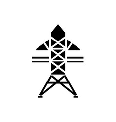 power line icon black sign vector image