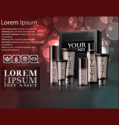 realistic different types of cosmetic with package vector image vector image
