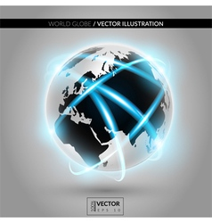 Shiny modern metallic world globe with connections vector