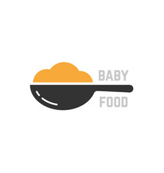 spoon with mashed like baby food logo vector image vector image