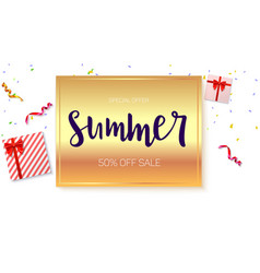 Summer sale ad banner on bright golden background vector