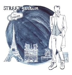 Trendy dudewatercolor ink steinparis street vector