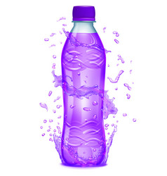 Water splashes around a plastic bottle vector
