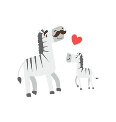 Zebra Dad With Moustache Animal Parent And Its vector image