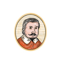 Medieval aristocrat gentleman oval woodcut vector