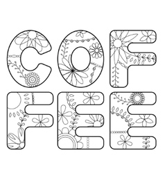 Coffee word coloring vector