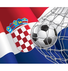 Soccer goal and croatia flag vector