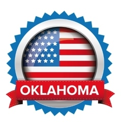 Oklahoma and usa flag badge vector
