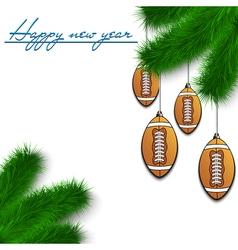 Football balls on Christmas tree branch vector image