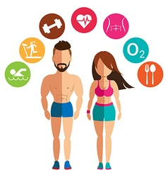 Sporty woman and man for health conscious concept vector