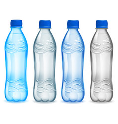 Set of plastic bottles with mineral water vector