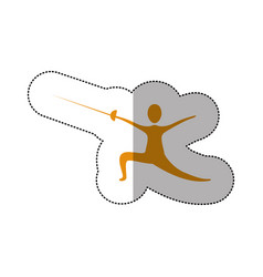 Yellow person practicing fencing vector