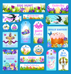 Easter cards tags banners greeting set vector