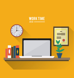 work time design office icon colorful vector image