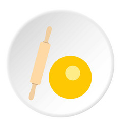 Dough and rolling pin icon circle vector