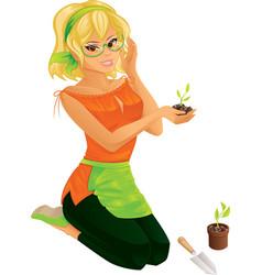 Pretty girl gardening vector image