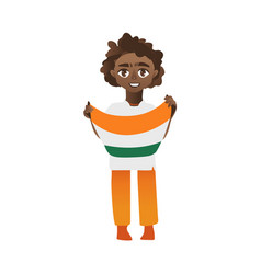 Boy kid teenager holding indian flag in hands vector