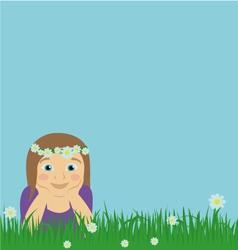 Girl on meadow vector