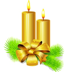 Golden candle with bow decoration and fir twig vector