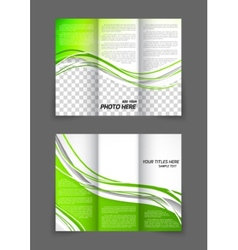 Tri-fold green wave brochure vector image
