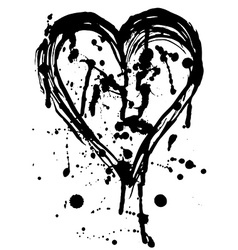 Heart drops of paint black sketch vintage poster vector