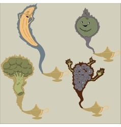 Banana broccoli grapes and apple genies vector