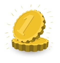 Two golden coins cartoon vector