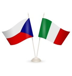 Table stand with flags of italy and czech republic vector