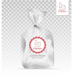 Plastic gift bag with gold shiny ribbon vector