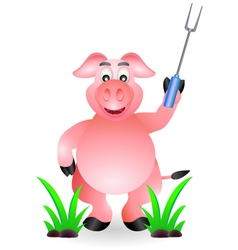 Funny pig cartoon with fork vector