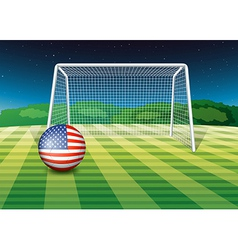 A soccer ball at the field with the flag of the vector image