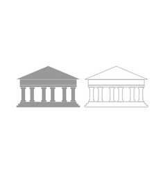 Bank building the grey set icon vector