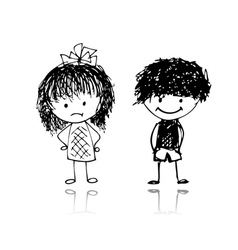 boy and girl sketch vector image
