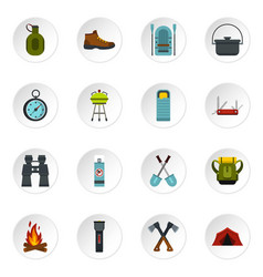 camping equipment icons set flat style vector image