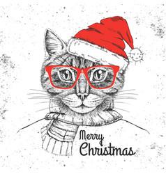 Christmas hipster fashion animal cat vector