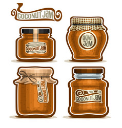 Coconut jam in glass jars vector