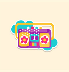 Colorful boom box or radio cassette tape player vector