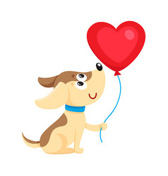 Cute and funny dog puppy holding red heart shaped vector