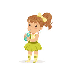 Cute brown-haired girl drinking her refreshing vector