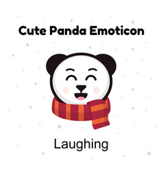 Cute cartoon emoticon baby panda laughing emoji vector