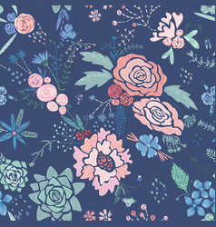 embroidery floral pattern vector image