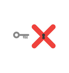 flat design style concept of key with solution vector image vector image