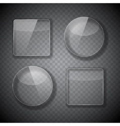 Glass frame rectangular and round buttons on vector