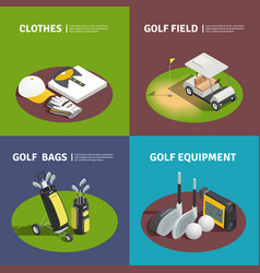 golf equipment 2x2 isometric design concept vector image vector image