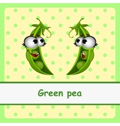 Green pea funny characters on yellow background vector