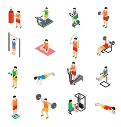 Gym icons set vector image vector image