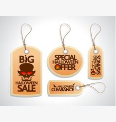 Halloween sale concept design tags set orange vector